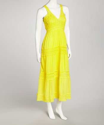 Yellow Crocheted Lace Maxi Dress - Women