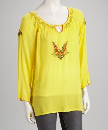 Yellow Embroidered Top - Women