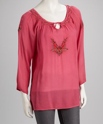 Rose Embroidered Top - Women