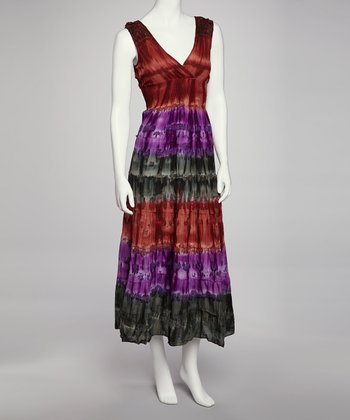 Rust & Purple Tie-Dye Dress