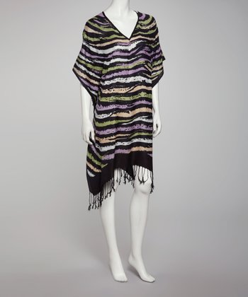 Black Zebra Cape-Sleeve Dress - Women