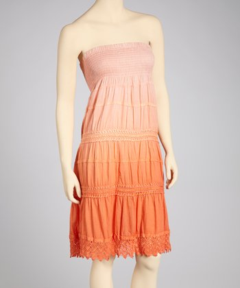 Coral & Peach Ombré Crocheted Convertible Dress - Women