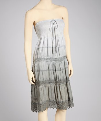 Gray Ombré Crocheted Convertible Dress - Women