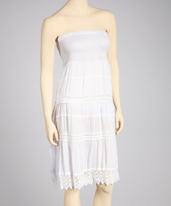 White Crocheted Convertible Dress - Women