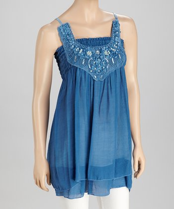 Blue Pearl & Sequin Tunic - Women