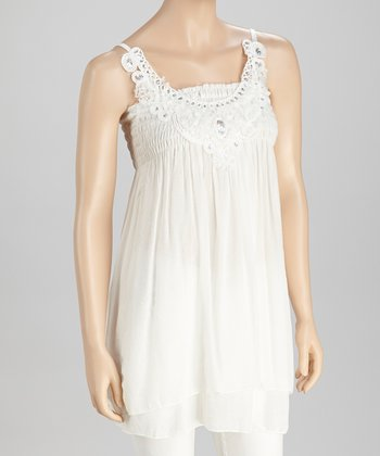 White Sequin Tunic - Women