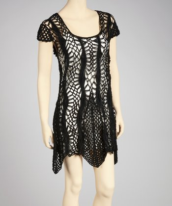 Black Crocheted Sidetail Dress