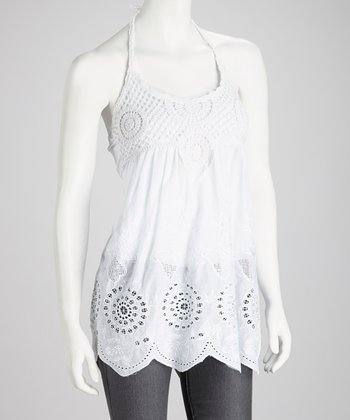 White Crocheted Halter Top - Women