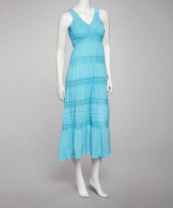 Blue Crocheted Maxi Dress - Women