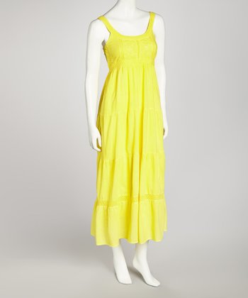 Yellow Crocheted Maxi Dress - Women