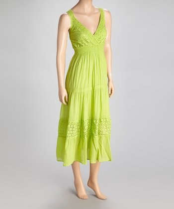 Green Eyelet Surplice Dress
