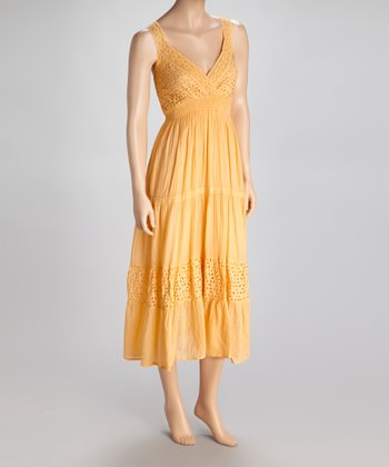 Peach Eyelet Surplice Dress