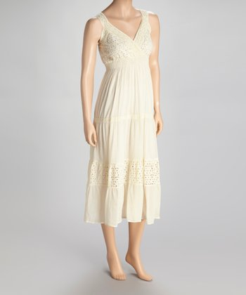 Beige Eyelet Surplice Dress