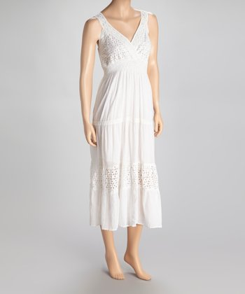 White Eyelet Surplice Dress