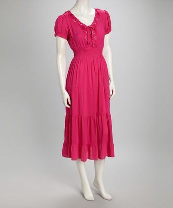 Fuchsia Puff-Sleeve Dress