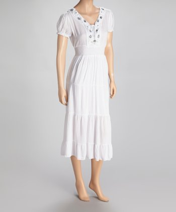 White Beaded Short-Sleeve Dress