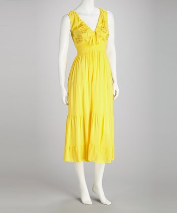 Yellow Beaded Sleeveless Dress