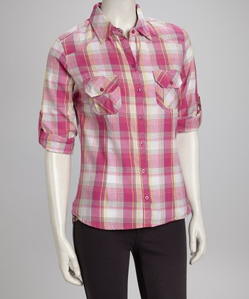 Pink Plaid Button-Up - Women