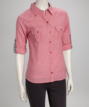 Red Gingham Button-Up - Women