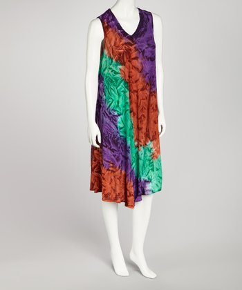 Purple & Brown Tie-Dye Dress - Women