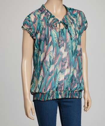 Green & Pink Sheer Abstract Peasant Top - Women