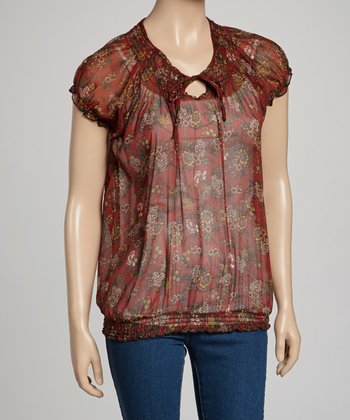 Red Sheer Floral Peasant Top - Women