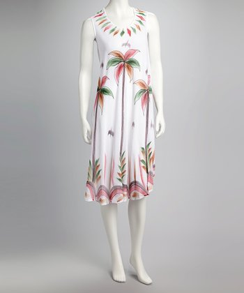 White Palm Tree Sleeveless Dress