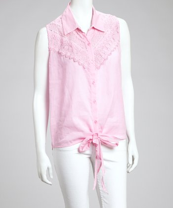 Pink Crocheted Lace Top - Women