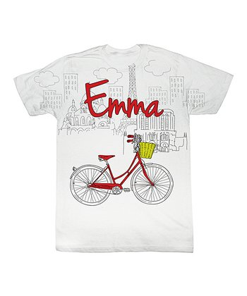 White Bicycle Personalized Sublimation Tee - Toddler & Kids