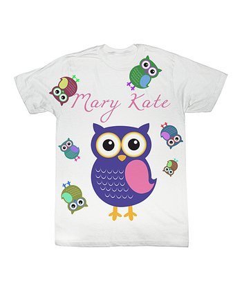 White Owl Personalized Sublimation Tee - Toddler & Kids