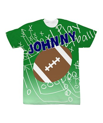 Green Personalized Sublimation Football Tee - Toddler & Kids