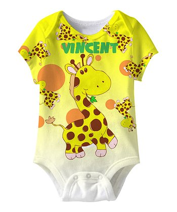 Yellow Giraffe Personalized Sublimation Bodysuit - Infant