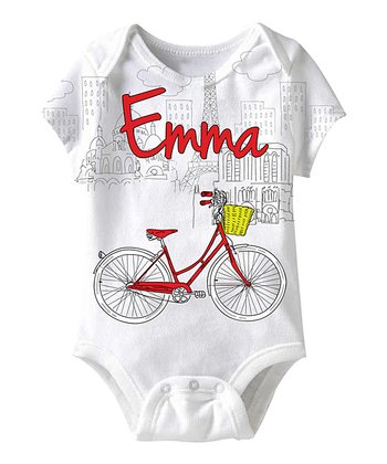 White Personalized Sublimation Bicycle Bodysuit - Infant