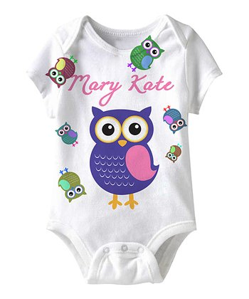 White Owl Personalized Sublimation Bodysuit - Infant