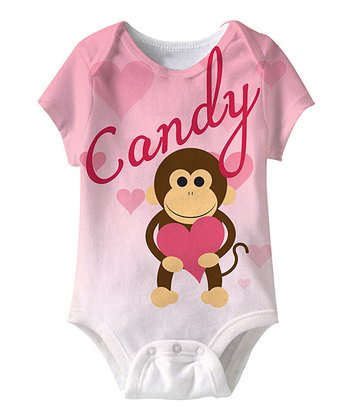 Pink Monkey Personalized Sublimation Bodysuit - Infant