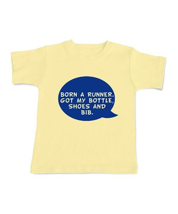 Yellow 'Born a Runner' Tee - Infant & Toddler