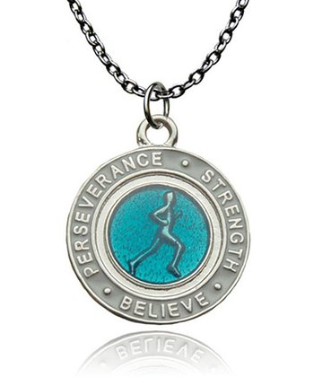 Aqua Runner's Creed Pendant Necklace