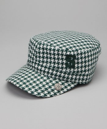 Green Houndstooth Michigan State Cabbie Cap