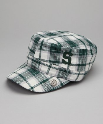 Green Plaid Michigan State Cabbie Cap