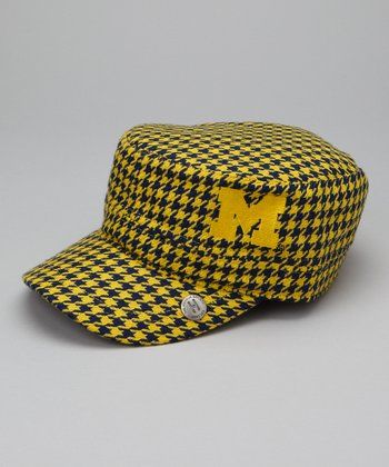Yellow & Blue Houndstooth Michigan Cabbie Cap