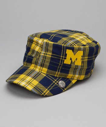 Yellow & Blue Plaid Michigan Cabbie Cap