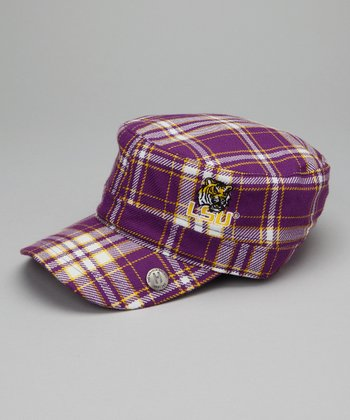 Purple Plaid Louisiana State Cabbie Cap