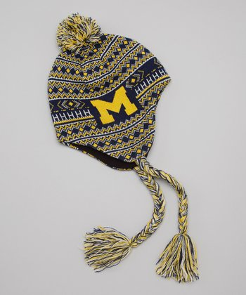 Blue & Yellow Michigan Earflap Beanie
