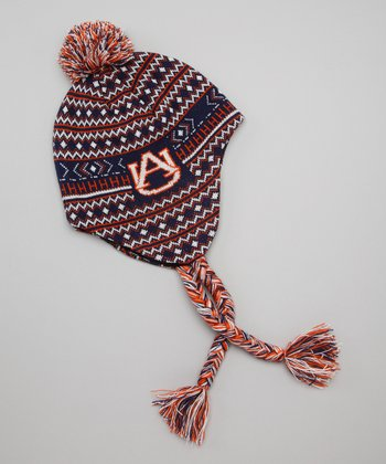 Navy & Orange Auburn Earflap Beanie