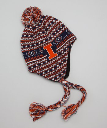 Orange & Blue Illinois Earflap Beanie