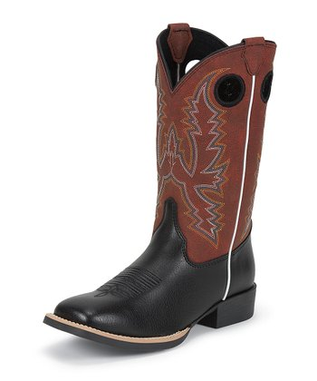 Black Chester Bent Rail Cowboy Boot - Boys