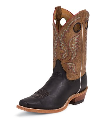 Black Burnished Calf Bent Rail Cowboy Boot - Men