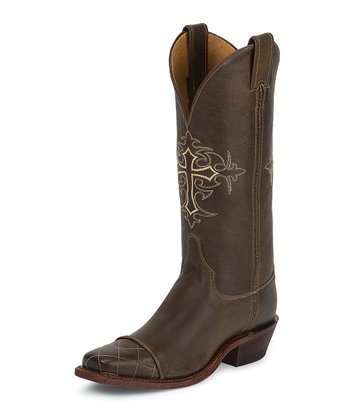 Antiqued Bomber Brown Bent Rail Cowboy Boot - Women