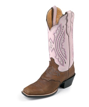 Coffee & Pink Luscious Punchy Cowboy Boot - Women
