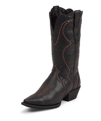 Black Milled Crunch Cowboy Boot - Women